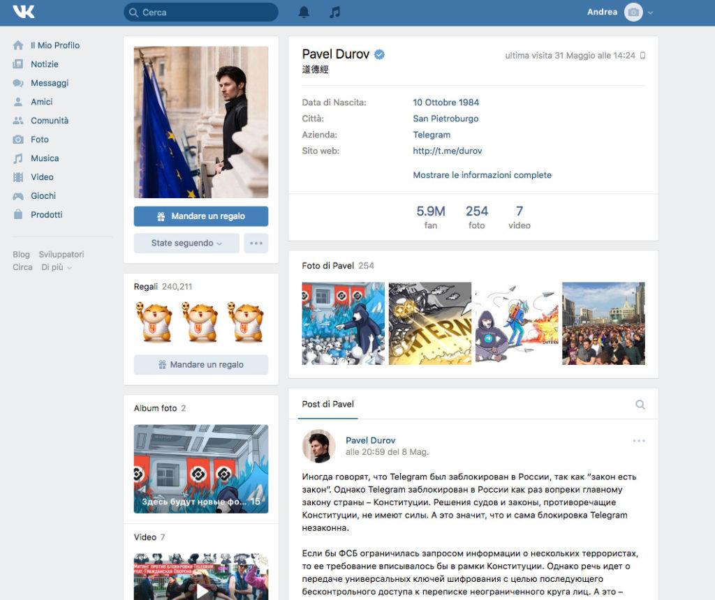 Profilo VK Pavel Durov